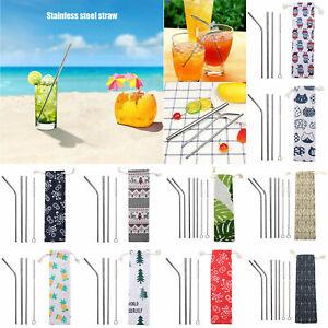 5pcs-8pcs-Stainless-Steel-Straw-Animal-Pattern-Reusable-Coffee-Straw-with-Bag