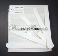 50pieces Acrylic Nail Files Plastic Center Professional 100/100 Grit White 7