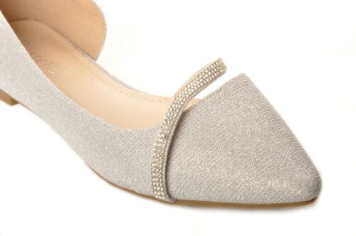 Silver Glitter Pointed-Toe Ballerinas Diamante Strap Bridal Pumps