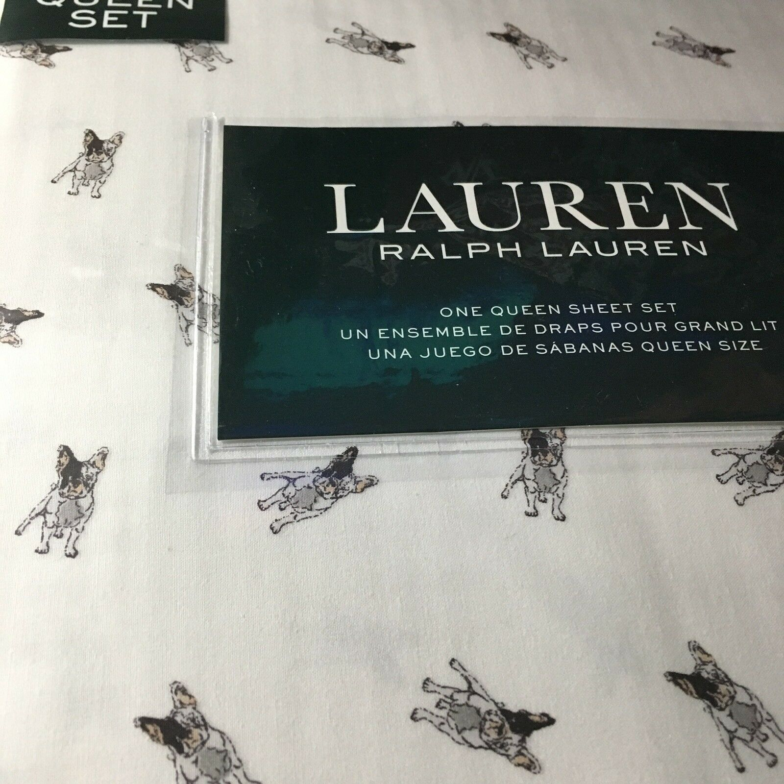 Ralph Lauren Dogs QUEEN Sheet Set 4p NIP French Bulldog Terrier - Free Ship