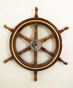 30-034-Vintage-Boat-Ships-Captains-Nautical-Beach-Ship-Wheel-Brass-Ring-Wall-Decor