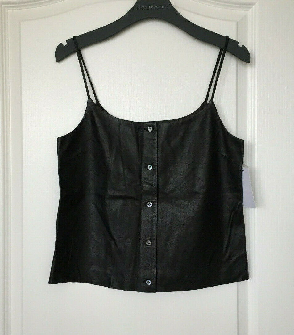 NWT EQUIPMENT Lambskin Leather Camisole, schwarz, Small SEXY