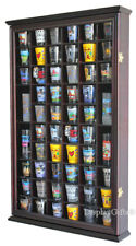 56 Shot Glass Display Case Holder Wall Cabinet  Rack Shadow Box -CHERRY SC56-CH