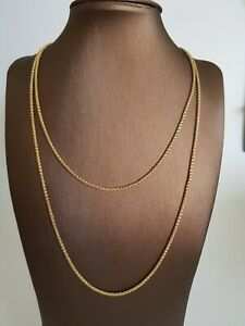 Popcorn-Halskette-80-cm-Messing-Gelb-Vergoldet-2mm-stark-und-8-Gramm-schwer