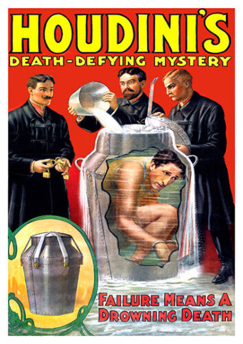 Houdini/'s death defying mystery Vintage  advertising  Poster reproduction.
