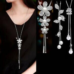 Fashion-Fleur-Feuille-Cristal-Perle-Pendentif-long-pull-chaine-Collier-Sautoir-Bijoux