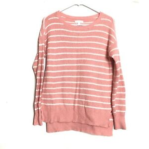 LC-Lauren-Conrad-Pink-White-Striped-Hi-Low-Hem-Tunic-Crew-Neck-Sweater-Small
