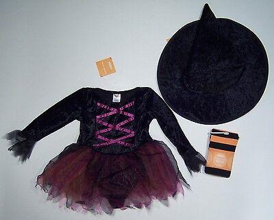 NWT Gymboree 2T-3T Witch Halloween Costume Pointy Hat & Orange Stripe Tights