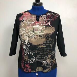 Susan-Lawrence-Women-039-s-Size-1X-Tea-Bling-3-4-Sleeve-Top-100-Cotton