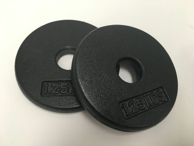 New cast iron barbell weights set of 2 x 1.25kg pancake weight 30mm centre hole