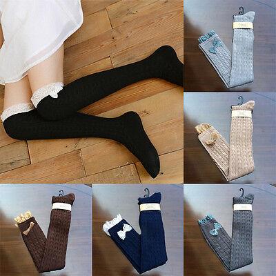Crochet Bow kawaii Lace Trim Cotton Knit Leg Warmers Boot Socks Knee High