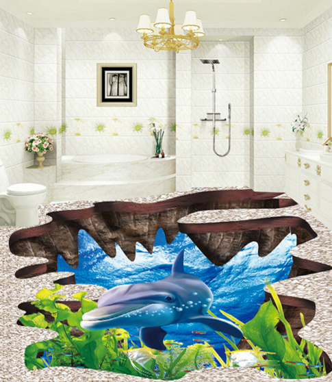 3D Dolphin Algae 53 Floor WallPaper Murals Wall Print 5D AJ WALLPAPER UK Lemon