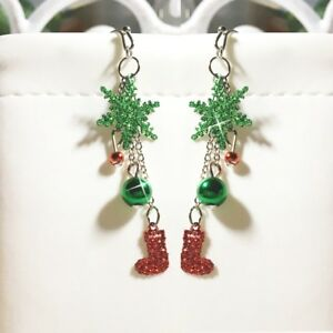 Christmas-Holiday-Ugly-Sweater-Red-Green-Silver-Snowflake-Sock-Dangle-Earrings