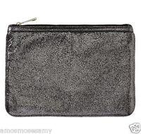 Banana Republic Silver Leather Tablet Ipad Clutch Envelope Zip Purse $79