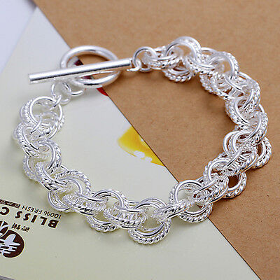 Christmas gifts!wholesale Solid SILVER Womens Bracelet/bangle lady925 +Gift Box