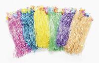 OTC LUAU - 6 Kids Flowered Polynesian Hula Skirts Assorted Colors - 341656