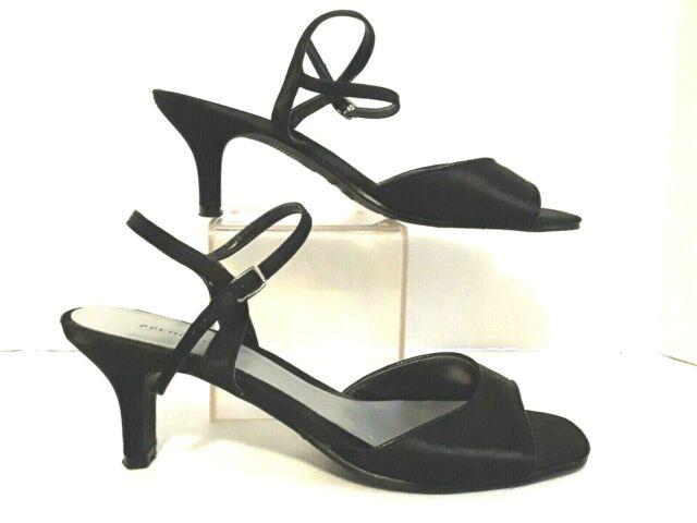 Predictions Women's Black Heel Sandals Ankle Strap Open Toe Pumps Size 7.5