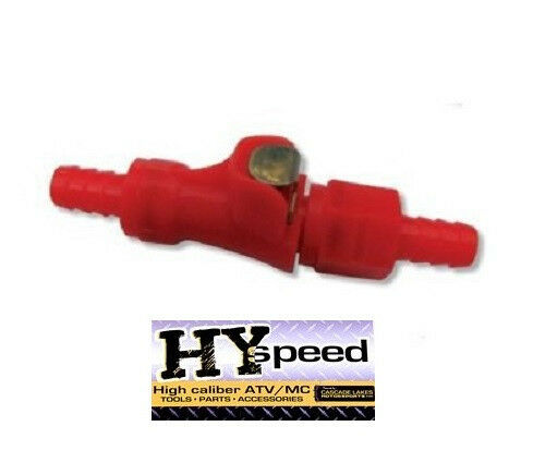HYspeed Fuel Gas Line Quick Connect RED Disconnect 5//16 Motorcycle Dual Shut Off