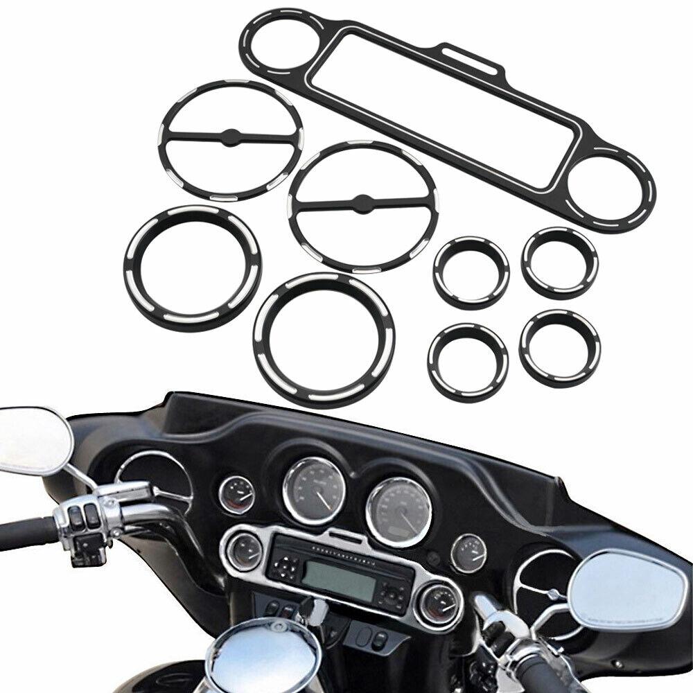 9pcs Chrome Stereo Accent Speedometer Speaker Trim Ring For Harley Touring 96-13