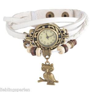 L-P-Weiss-Retro-Lederarmbanduhr-Armbanduhr-Wickelarmband-Eule-Anhaenger-21cm