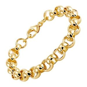 """Italian-Made Polished Rolo Link Chain Bracelet in 18K Gold-Plated Bronze, 7.75"""""""