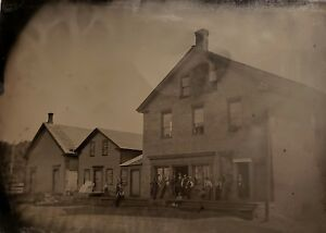 """ANTIQUE AMERICAN MIDWEST OR WESTERN TOWN SIGN MEN COWBOY """"3/4"""" PLT TINTYPE PHOTO"""