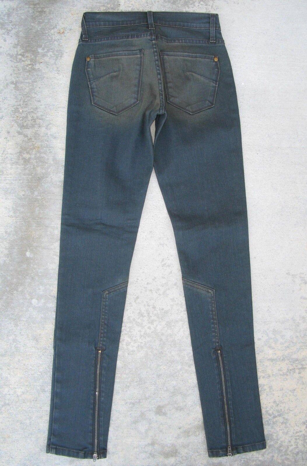 James Jeans Geo Skinny Twiggy Jeggings Zipper Hems Dark USA Made Sz 25 NEW