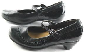 Naot-Mary-Jane-Heels-Womens-Sz-5-Black-Patent-Leather-Slip-On-Shoes-Eu-36