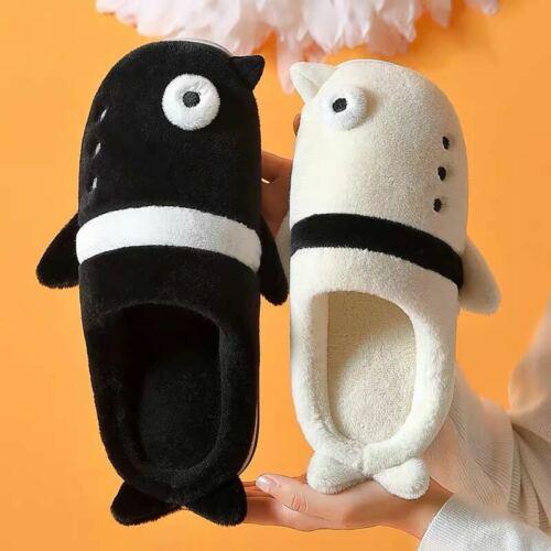 Unisexe Pingouin en Forme de Mignon Hiver Chaud Confortable Polaire Chaussons Idées Cadeau