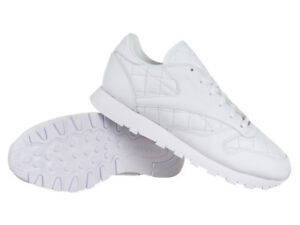 low priced 84adb 4ade1 Details about Neu DAMEN Reebok WEIß Classic Leather Quilted LEDER SNEAKER  AR1262