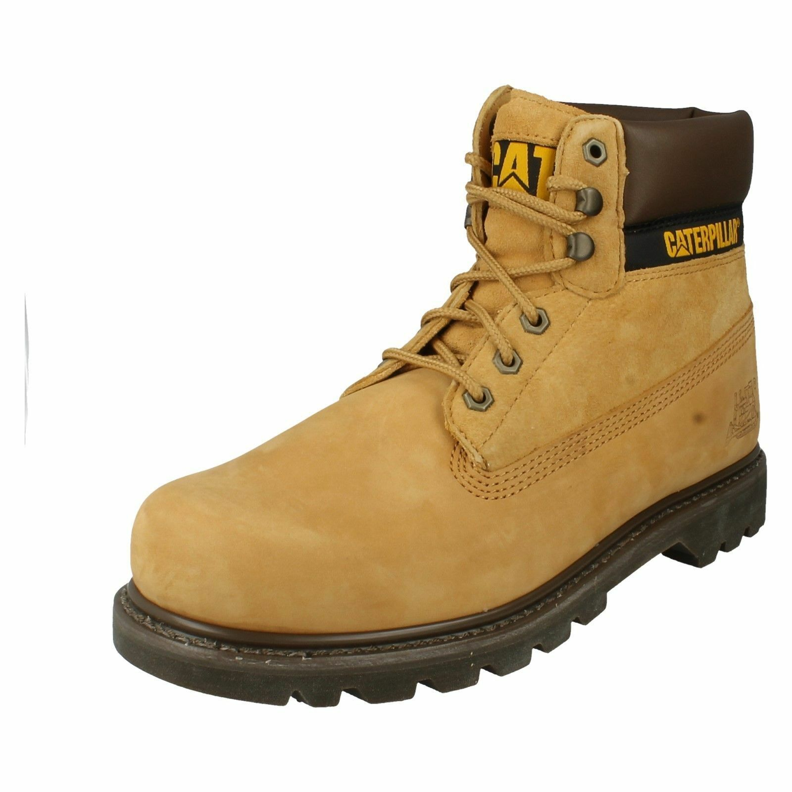 SALE Caterpillar 'colorado' Mens Honey Leather Texile Lace Up Work Boots