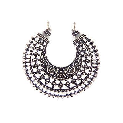 Antiqued Silver Tone Alloy Vintage Lace Hollow Moon Necklace Pendant Charms 12pc