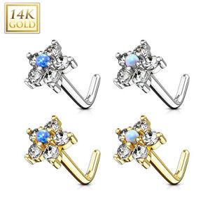 14K or Massif Opale Zircone Fleur COURBURE L Forme Clou de Nez Bague Vius tgd8uC68-08043515-805735435