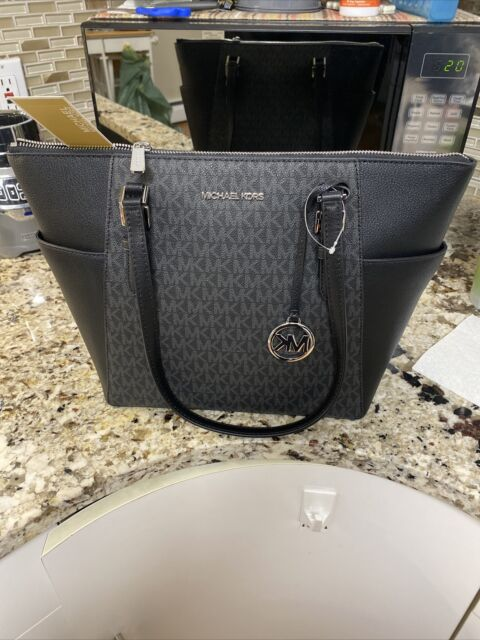 Michael Kors Charlotte LG Top Zip Tote MK Signature Shoulder Bag Black NWT