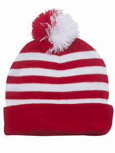 Top-Headwear-Striped-Long-Beanie-w-Pom-Red-White