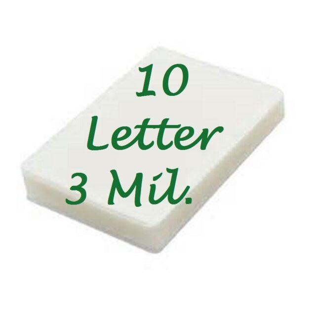 10 LETTER Laminating Laminator Pouches Sheet 3 Mil 9 x 11-1/2 Scotch Quality
