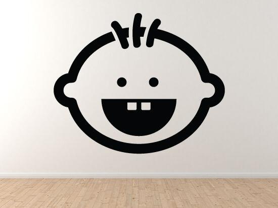 Baby Care - Boy Smile Head Nursery Room Decor  - Vinyl Wand Decal
