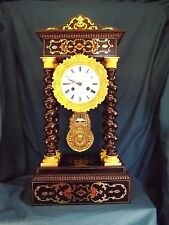 Fabulous 19c Inlaid French Portico Clock C1880.
