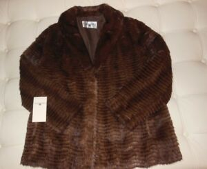 NWT-Bergama-Brown-Feathered-Mink-Full-Pelt-Collar-Coat-Jacket-Size-Medium-Large