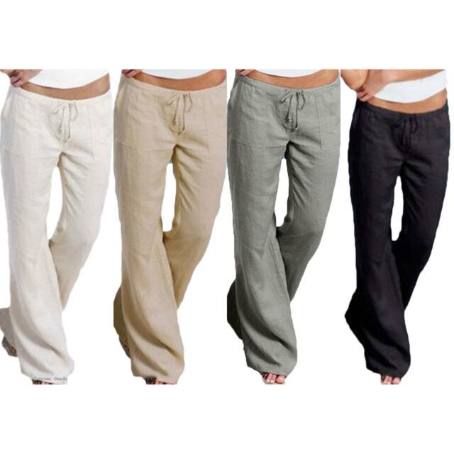 Damen Herren Weites Bein Hosen Freizeithose Lose Yogahose Sporthose Strandhose L