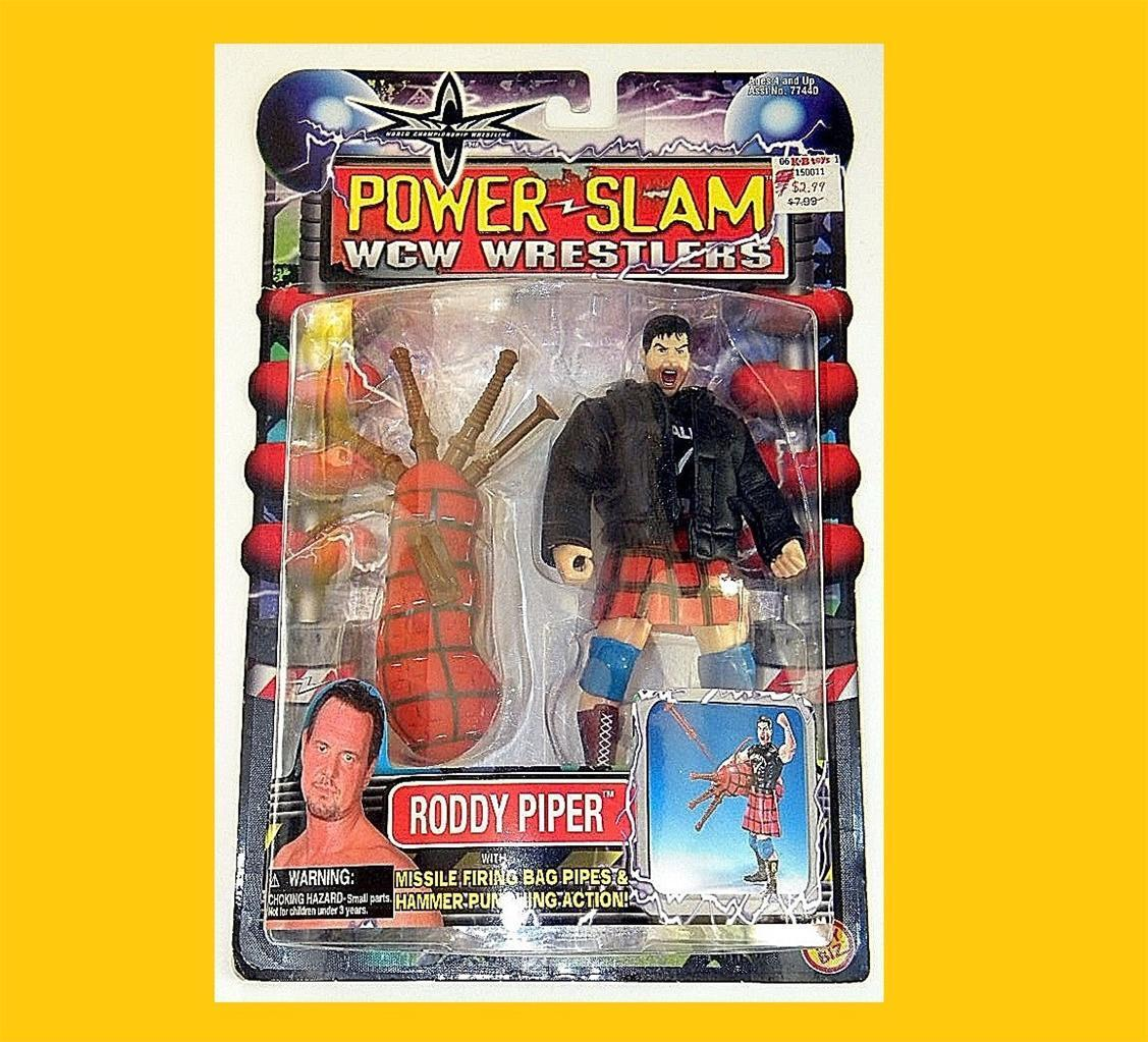WCW WRESTLERS RODDY PIPER POWER SLAM ACTION FIGURE MOC RARE FROM TOYBIZ
