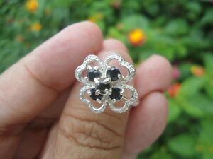 Sterling-Silver-DESIGNER-Natural-Sapphire-Quatrefoil-2-5g-Flower-Ring-7-0