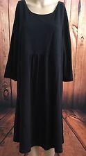 Pure Jill J Jill Empire Waist Jersey Black 3/4 Sleeve Dress Fit Flare XL Petite