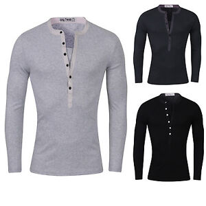 6711dc10 Mens Slim Fit Long Sleeve T Shirt Muscle Fitted Casual V Neck Gym ...