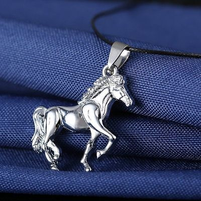 Horse Heart Charm Silver Chain Pendant Necklace Jewelry Gifts Best Friend Family