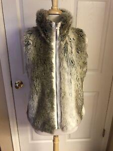 Weatherproof-Women-Vest-Silver-fox-Fur-lined-Cream-Light-Brown-Large-NWT