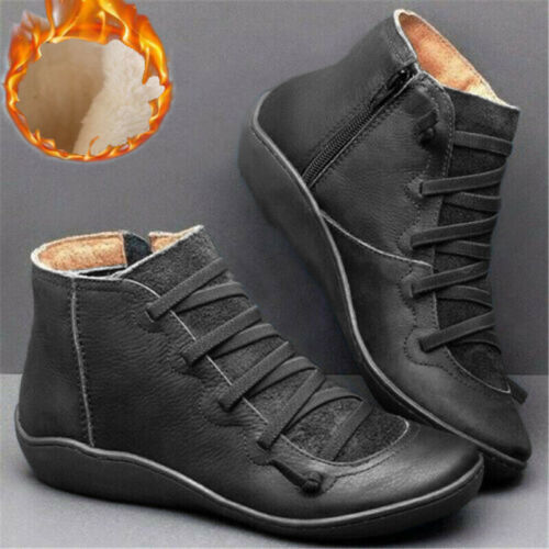 Women Autumn Arch Support Boots Ladies Flat Heel Side Zip Winter Ankle Shoes
