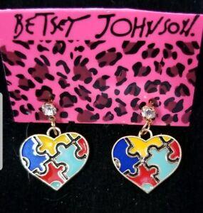 Betsey-Johnson-Lovely-Color-Enamel-Cute-Puzzle-Heart-Women-Stand-Earrings