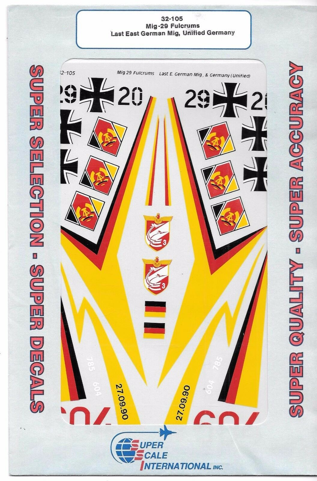 Super Scale Mig-29 Fulcrums, Last East German Mig, Unified Germany Decals 1 32