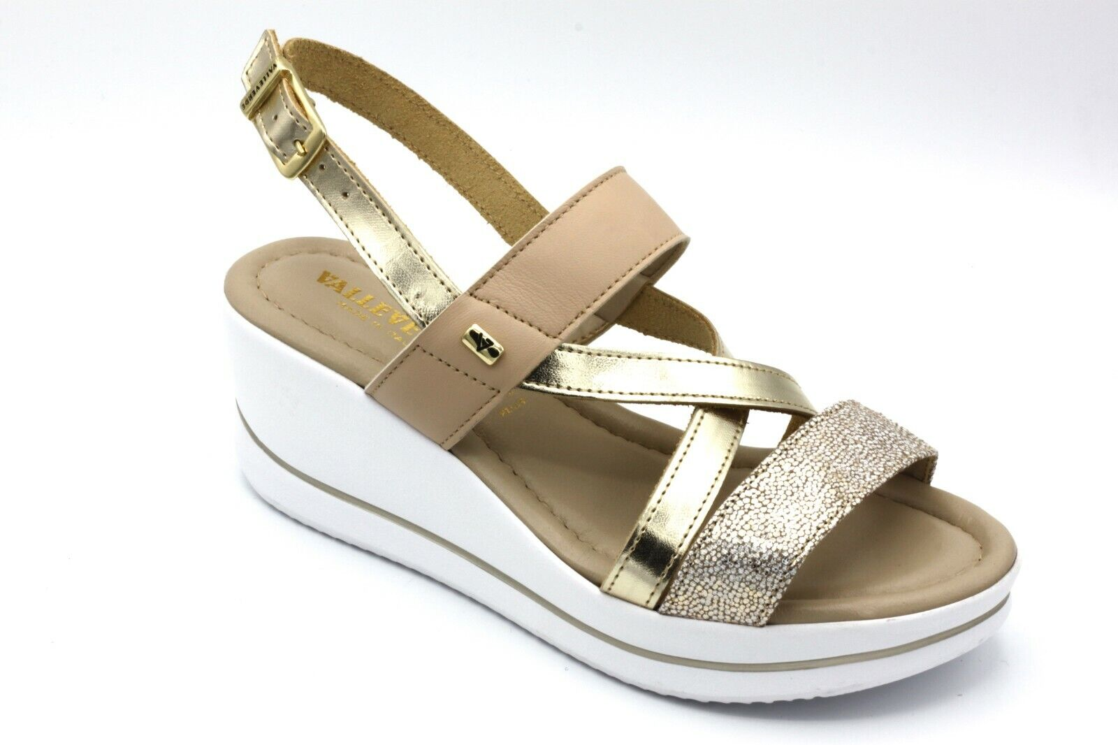 VALLEgreen SANDALI women CON ZEPPA IN PELLE color PLATINO  n. 36